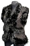 """Натуральна жилетка жіноча з шкіри і овчини """"Nebat"""" - чорна"""