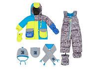 Зимний костюм для мальчика 1-3 лет (полукомбинезон, шарфик, манишка, шапка) ТМ Deux par Deux Q 518-00