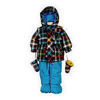 Зимний костюм для мальчика 1-3 лет (куртка, полукомбинезон, манишка, шапка) ТМ Deux par Deux K 512-776