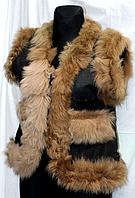 Молодіжна жіноча натуральна жилетка Nebat з рудим опушенням