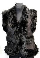 Молодіжна жіноча натуральна жилетка - чорна узлісся