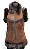 Натуральная женская жилетка Nebat коричневая с опушкой