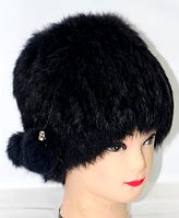 Натуральная женская шапка из меха кролика черная