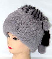 Серая зимняя женская шапка из меха кролика