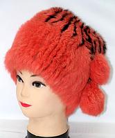 Модная зимняя женская шапка из меха кролика