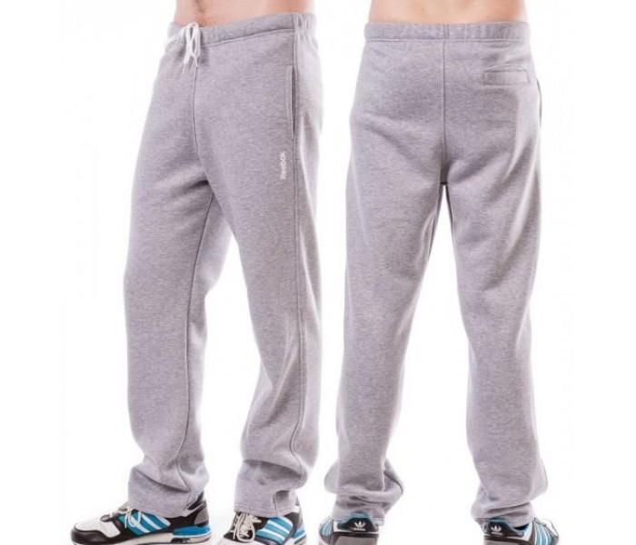 ТЕПЛЫЕ зимние спортивные штаны мужские на флисе в стиле Рибок (Reebok) светло серые прямые Украина