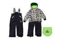 Зимний костюм для мальчика 4-7 лет  (куртка, полукомбинезон, манишка) ТМ Deux par Deux O 816-999