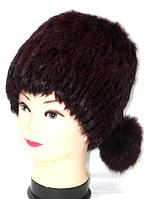 Натуральная женская шапка из меха кролика с пумпонами
