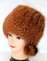 Натуральная женская шапка из меха кролика светло-коричневая