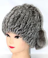 Женская зимняя шапка из меха кролика серого окраса