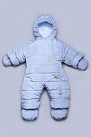 Зимний термокомбинезон « Мишки-Топтыжки» для новорожденных 0 - 6 мес голубой на холлофайбере Модный Карапуз