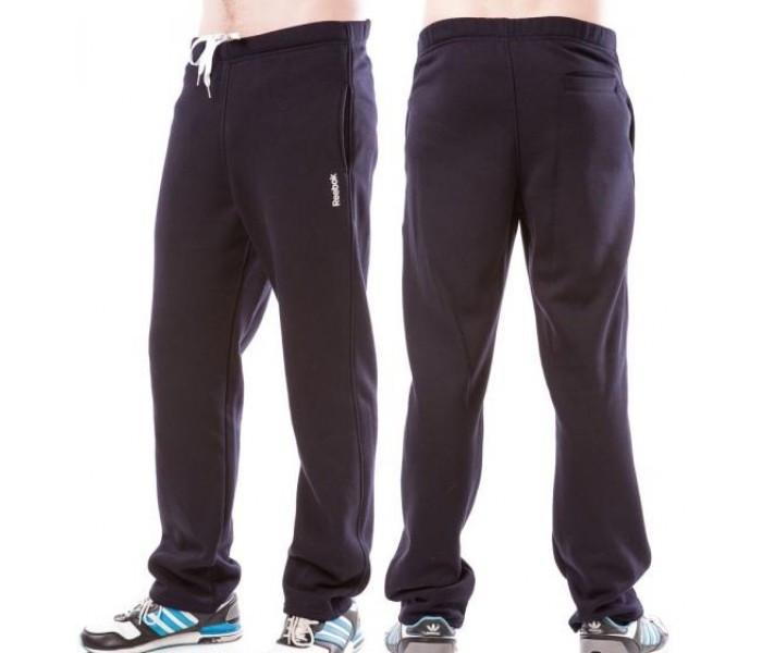 ТЕПЛЫЕ зимние спортивные брюки мужские на флисе в стиле Рибок (Reebok) темно синие прямые Украина