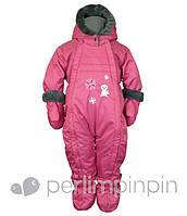 Зимний термокомбинезон для девочки от 6 -24 мес., р. 68-86 (+пинетки, варежки, манишка) PerlimPinpin ягодный VH231С