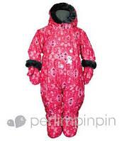 Зимний термокомбинезон для девочки от 6 мес., 2 года, р. 68, 92 (+пинетки, варежки, манишка) PerlimPinpin