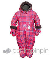 Зимний термокомбинезон для девочки от 6 -24 мес., р. 68-92 (+пинетки, варежки, манишка) Perlim Pinpin