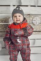 Зимний термокомбинезон для мальчика от 6, 12, 24 мес., р. 68, 80, 92 (+пинетки, варежки, манишка) Perlim Pinpin