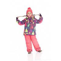 Зимний термокостюм для девочки 2-7 лет (куртка, полукомбинезон, манишка) ТМ Deux par Deux E 806-702