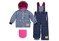 Зимний термокостюм для девочки 4-7 лет (куртка, полукомбинезон, манишка) ТМ Deux par Deux D 805-499