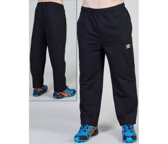 ТЕПЛЫЕ зимние спортивные штаны мужские на флисе Адидас (Adidas) черные прямые Украина