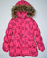 Розовая демисезонная куртка в цветы 122
