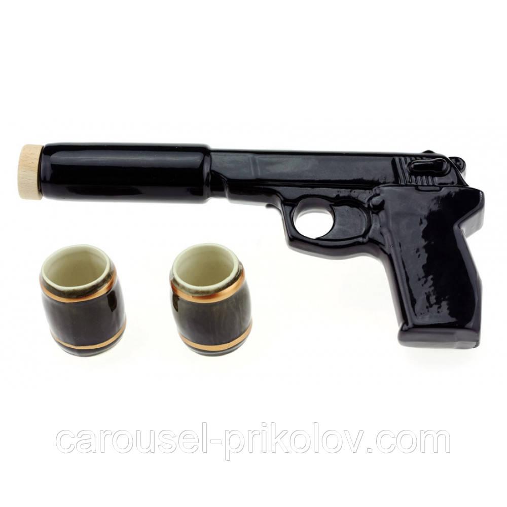 Коньячный набор Пистолет с глушителем, 3 предмета