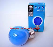 Лампа накаливания General Electric 15 D1/B/E27 шарообразная синяя(Венгрия)