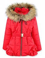 Детская зимняя куртка на девочку красная, р.98