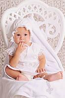 Комплект крестильный для девочки лен (платье, шапочка, пинетки, мешочек) Модный карапуз 03-00583