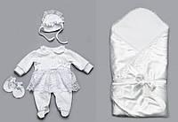 Комплект на выписку из роддома для новорожденной девочки (челов., конверт-од., шап., рукав.) ТМ Модный карапуз