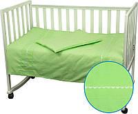 Комплект постельного белья в детскую кроватку Веселый горошек (100% хлопок, 3 предм) ТМ Руно салатовый 932ВГУ, фото 1