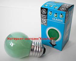 Лампа накаливания General Electric 15 D1/G/E27 шарообразная зелёная (Венгрия)