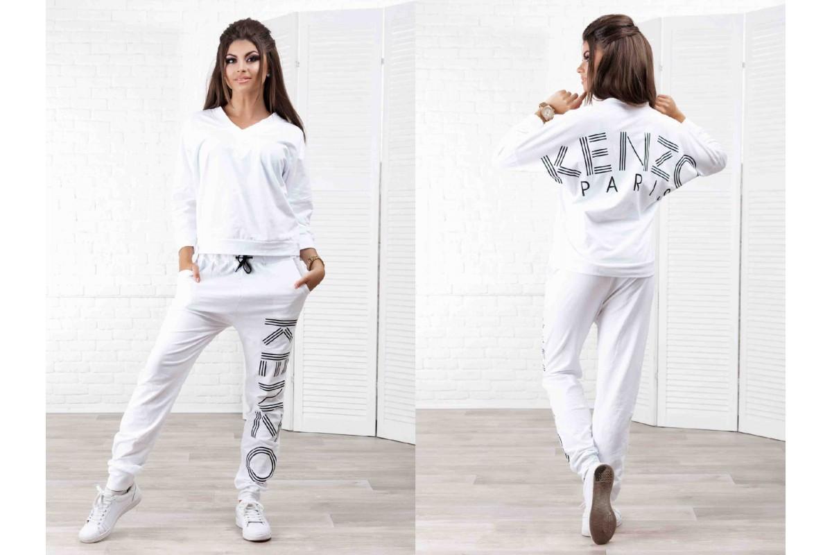 Костюм свободный летний белый реплика Кензо, штаны с мотней