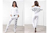 Костюм свободный летний белый лого Кензо, штаны с мотней