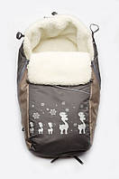 Конверт-подстилка на овчине для детских санок ТМ Модный карапуз Серый+бежевый 03-00469-3