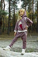 Костюм трикотажный для девочки 4-8 лет (брюки и толстовка) р. 110-128, ТМ Модный карапуз (бордо меланж)