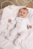 Крестильный набор для новорожденного из хлопка белый, р. 62-74 Модный Карапуз 03-00575-0