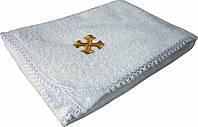 Крыжма (полотенце-уголок) для крещения махровая с с вышивкой золотом/серебром, 100% хлопок. ТМ Руно 988У