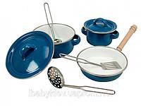 Кукольный набор эмалированных кастрюль, детская игрушечная посуда. (ТМ Bino, 83395)