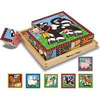 "Кубики ""Ферма""  MD775 Melissa & Doug. 16 деревянных кубиков с картинками"
