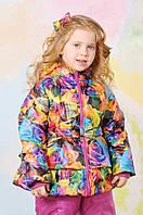Куртка демисезонная для девочки (Розы) 2-5 лет, р. 86-104 Модный карапуз 03-00567-0