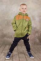 """Куртка для мальчика демисезонная """"Спорт"""" (зеленый) 5-8 лет, р. 110-128 ТМ Модный карапуз 03-00565-1"""