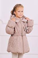 Куртка-пальто зимняя на холлофайбере для девочки 5-8 лет, р. 110-128 беж. Модный карапуз (03-00461)