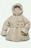Куртка-пальто зимняя на холлофайбере для девочки 5-8 лет, р. 110-128 св.-беж.