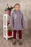 Куртка-парка демисезонная для девочки 5-8 лет, р. 110-128 ТМ Модный карапуз (серый) 03-00552-1