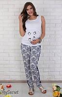 Летние брюки для беременных Daina р. 44-50 ТМ Юла Мама синий орнамент на белом TR-26.082