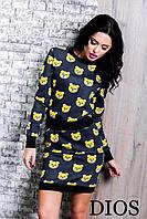 Женский теплый  костюм юбка + батник  Мишки