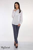 Летние классические брюки Lavera light  р. 44-50 ТМ Юла Мама Синий меланж TR-25.071