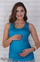 Летняя майка для беременных Kala р. 44-50 ТМ Юла Мама морская волна LS-26.021