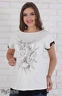 Летняя туника Pauline для беременных р. 44-50  ТМ Юла Мама молоко с черным TN-26.012