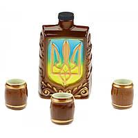 Коньячный набор Фляга Украина, 4 предмета